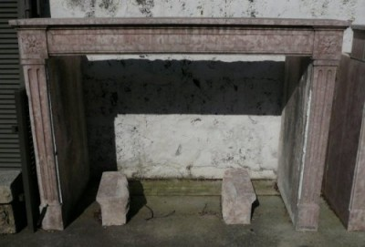 Vintage Louis XVI pink stone Fireplace - Antique fireplaces