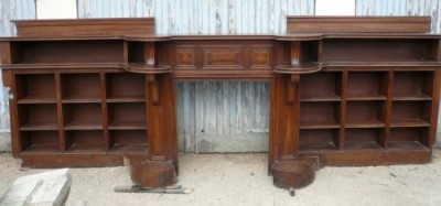 Rare antique fireplace wood (Walnut) with library - Antique fireplaces
