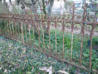 Wall of wrought iron fences - Building Antiques